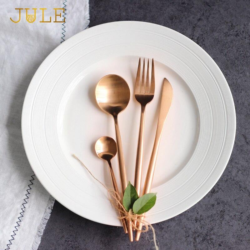 1 lote / 24 piezas Juego de cubiertos de lujo de oro rosa Cuchillos - Cocina, comedor y bar
