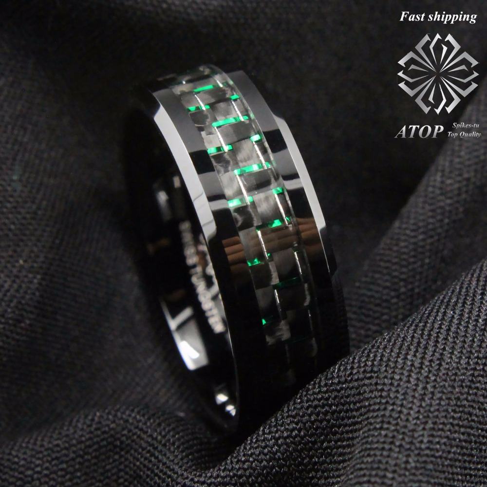 Jewels By Lux Stainless Steel Polished w//Grey Carbon Fiber Inlay 6mm Band
