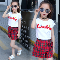 Sweet Casual T Shirt Shorts 2 Pieces Set Children Clothes 2018 New Summer Baby Girls Sets