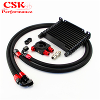 10AN 32MM 13 Rows Universal Engine Oil Cooler+73 degree Thermostat Sandwich Plate kit