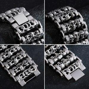 Image 4 - Fongten Vintage Cranio Largo Metal Biker Vichingo In Acciaio Inox Braccialetto di Fascino Grande Argent Degli Uomini del braccialetto Dei Monili