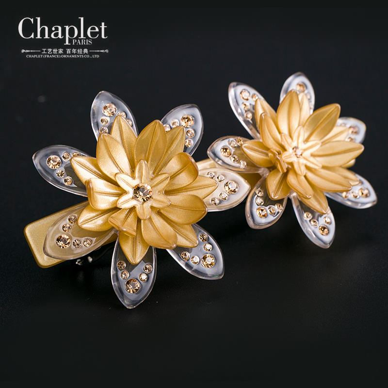 Chaplet 2016 High Quality Elegant Women Hair Accessories Barrettes Rhinestone Hair Clips Spring Flower Top Clip