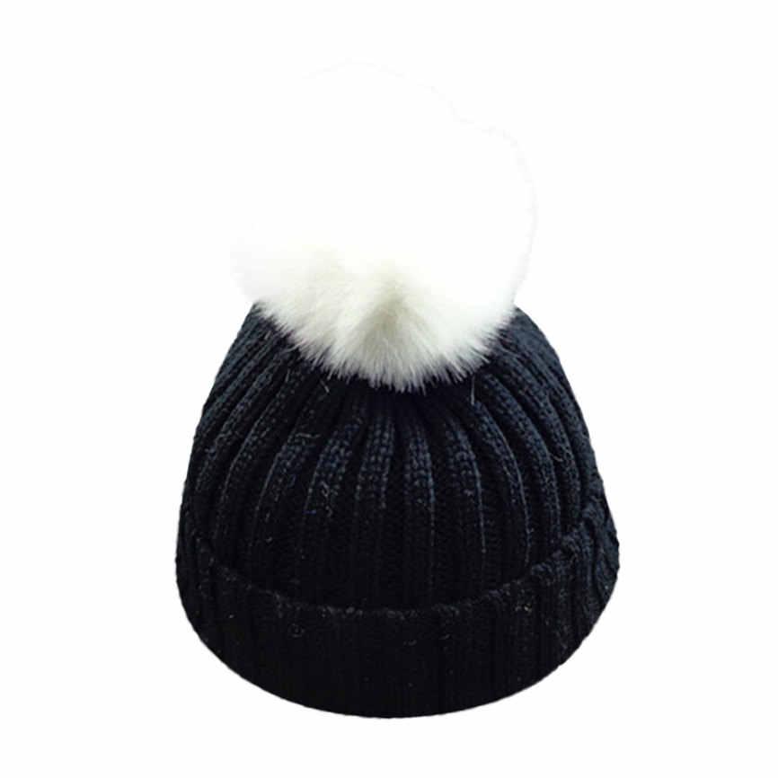 Kış Bebek Şapka Çocuklar Yürümeye Başlayan Çocuk Sıcak örgü bere şapka Erkek Kız Kürk Pom Bobble Tığ Işi Kap 48 cm-54 cm dropshipping 1215
