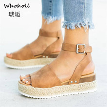 Whoholl Sandals Women Wedges Shoes Pumps High Heels Sandals Summer 2019 Flop Chaussures Femme Platform Sandals Sandalia Feminina sandalia feminina 20 cm extreme high heels sandals women transparent cut out platform sandals 20 cm sexy t station shoes wedding