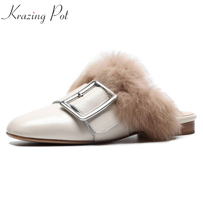 Krazing pot full grain leather square toe rabbit fur decoration high quality mules flat with superstar women outside slipper L82 krazing pot shoes women full grain leather mules hollywood peep toe metal chain decorations sandals summer outside slippers l88