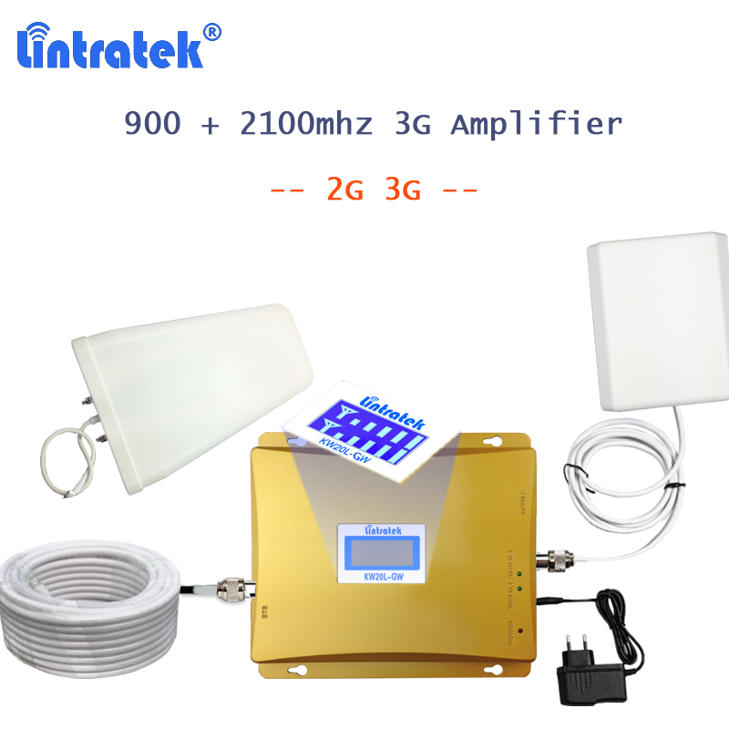 Lintratek 2100 Amplifier 2g 3g Mobile Signal Repeater Gsm 900 Voice Wcdma Band 1 Umts 3g Booster Kit Cell Phone Network 3g S54