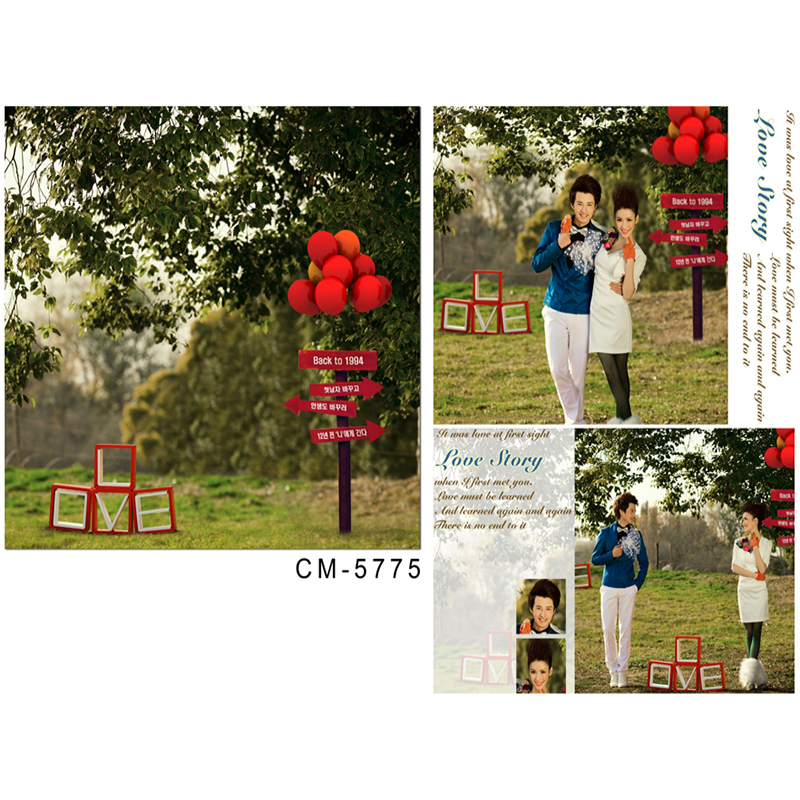 Wedding Photography Background Red Balloon White Love Digital Printing Background Forest Grassland Backgrounds for Photo Studio love of the grassland 600g