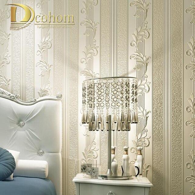 Schon Einfache Europäischen Stil Blatt Gestreifte Damast Wallpaper Für Wände 3 D Luxus  Schlafzimmer Decor Wohnzimmer Sofa