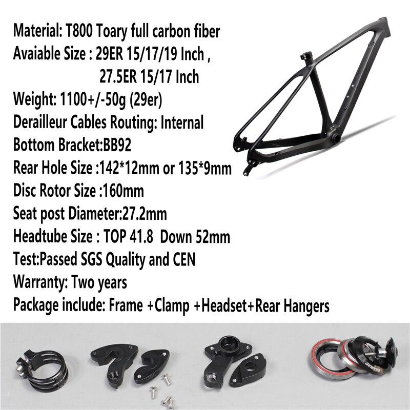 Pura Raza Bicicleta MTB /27.5er/29er Quadro De Carbono  Montanha Carbono Quadro De Bicicleta Com Tamanho COMPACTO 15/17/19