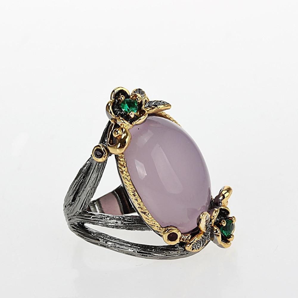 WA11659 Pinky Vintage Rings Women Big Oval Stone Flower Ring Wedding Jewelry  (2)