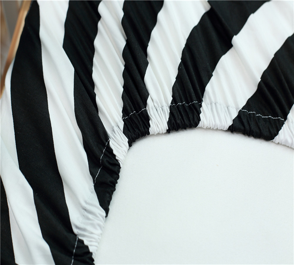 Baby Bed Sheet Flat Baby Rubber Belt Mattress Cover Cot Sheet Cotton Print Classic Black White Baby Bed Sheet For Crib Bedding