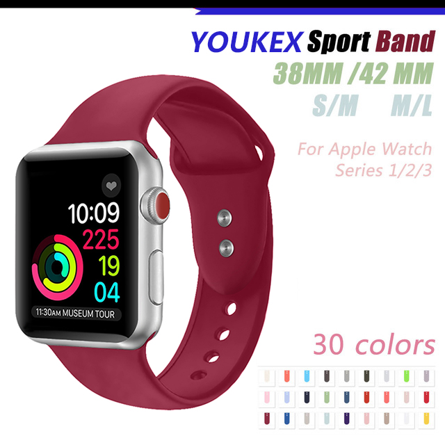 YOUKEX Silicone Sport Band for Apple Watch 38mm 42mm Replacement Sport Bracelet Wrist Strap for iWatch Series 1 & 2 & 3