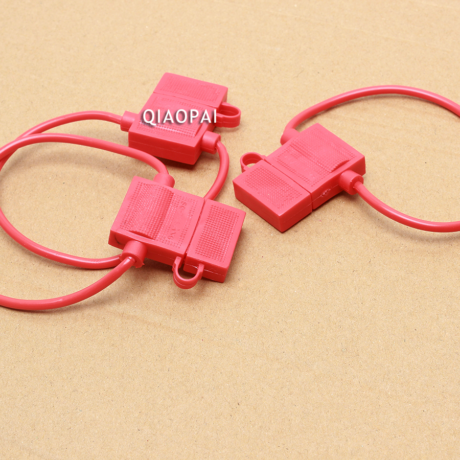 10pc Universal Moto Car Truck Fuse Clip Socket Holder Waterproof Red Wiring Harness Copper Line Wire Rubber Thermostability Box In Motorcycle Electronics