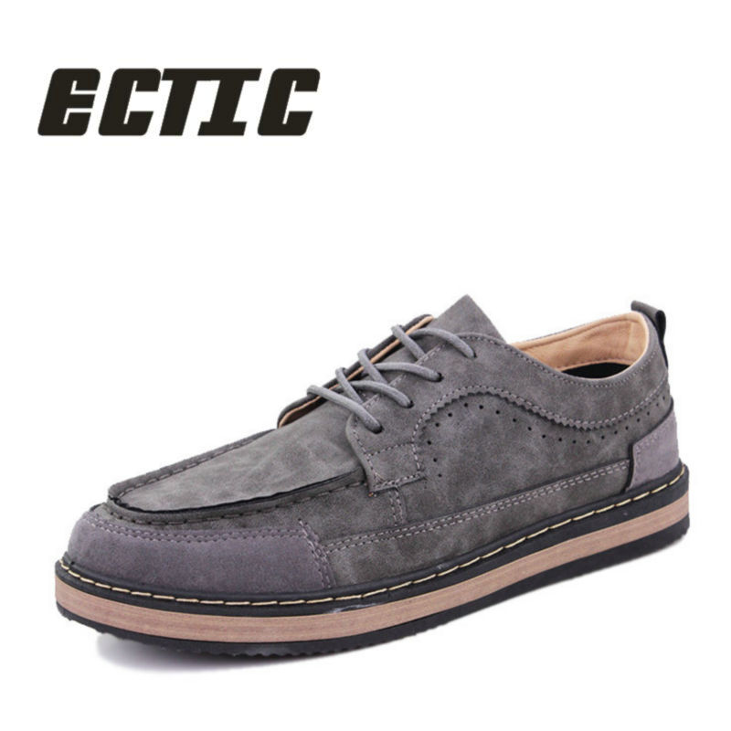 ECTIC men Lace-Up Fashion Brand Flat sneakers Shoes adult casual leather shoes Comfortable Driving oxfords shoes youth ZZ-043