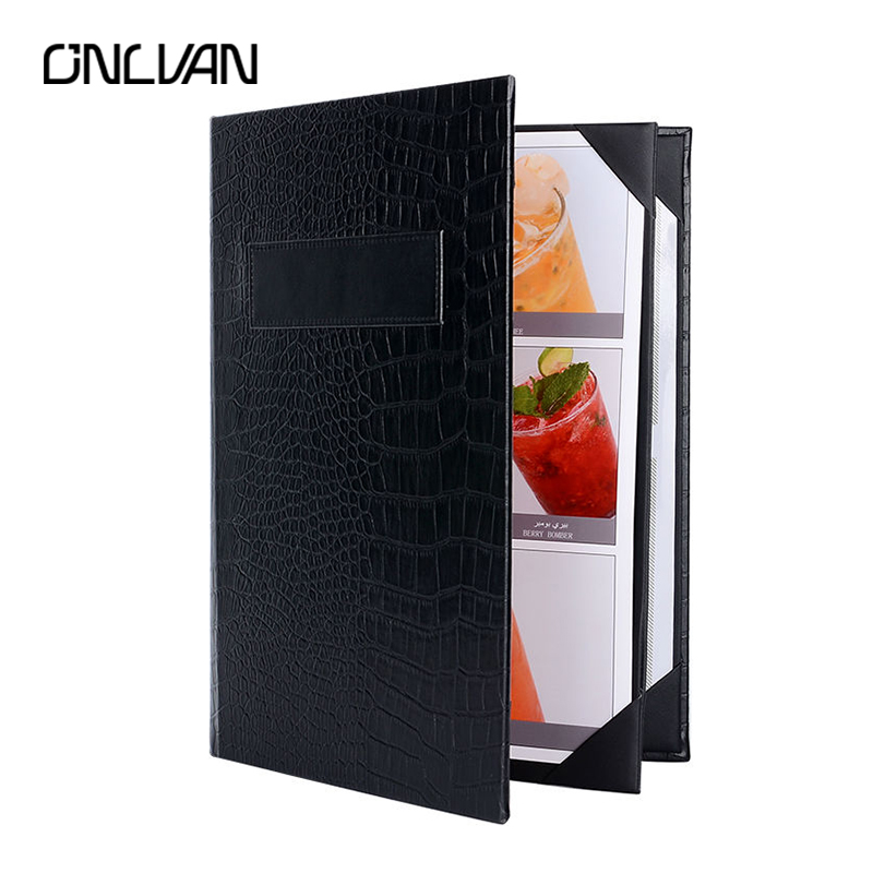 ONLVAN 5 pcs/lot PU Leather Restaurant Menu Holders Upscale Hotel Cafe Menu Covers Customized Menu Folder Black Alligator Grain menu чаша black contour