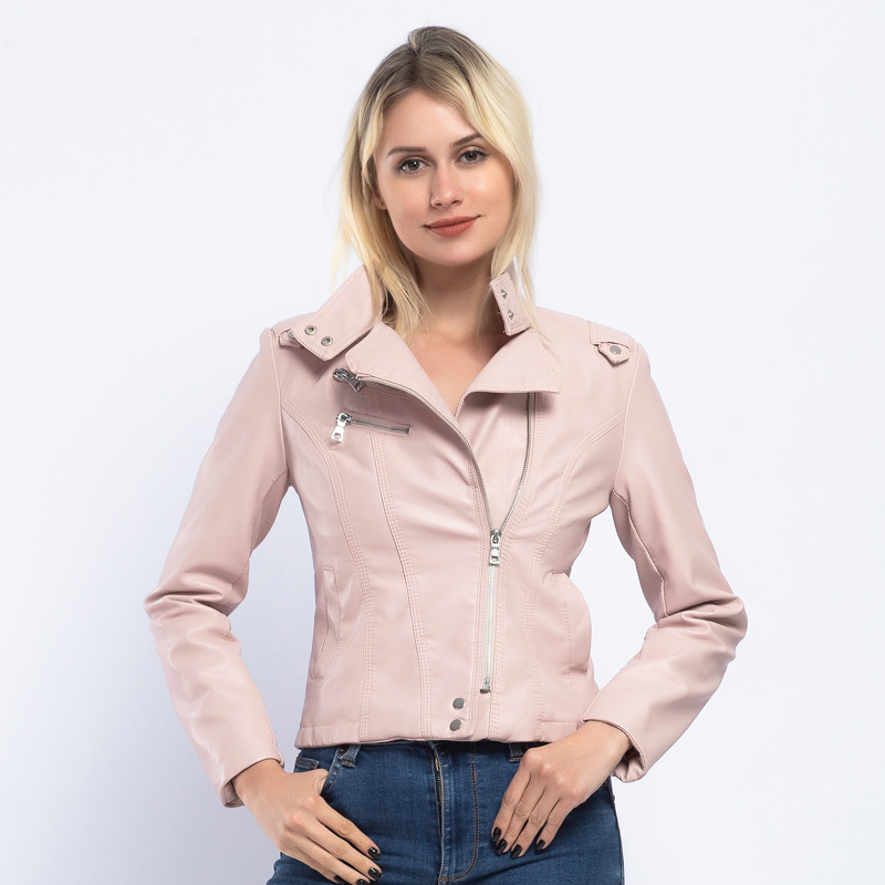 Brand Stand Collar   Leather   Jacket Women 2019 Spring Fashion Pink PU Faux   Leather   Coat Women Autumn Biker Jacket Outwears AO907