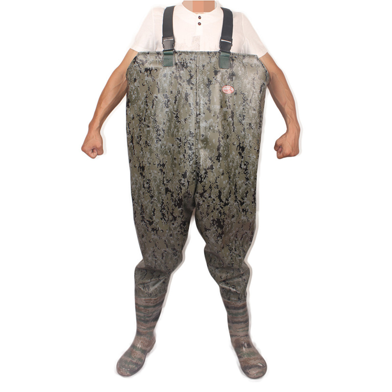 High-jump Camouflage One-Piece Fishing Waders 0.85mm PVC Digital Camouflage Chest Height Seamless Clothes+Boots Fishing WadersHigh-jump Camouflage One-Piece Fishing Waders 0.85mm PVC Digital Camouflage Chest Height Seamless Clothes+Boots Fishing Waders