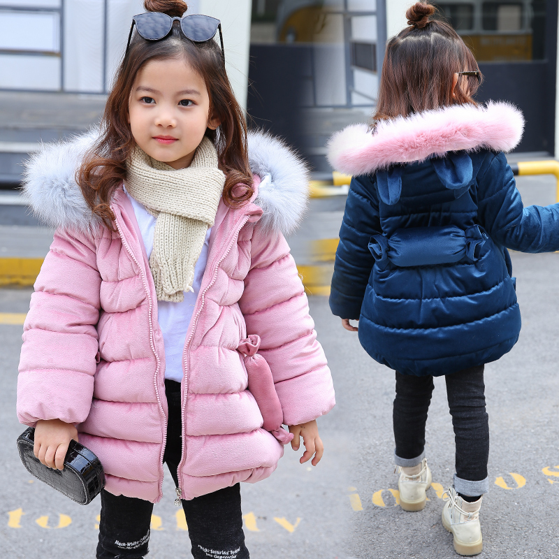 2018 rabbit Ear Winter Jackets For Girls Clothes Children Clothing Thick Fur Collar Hooded Coat Girls Winter Coats And Jackets цена