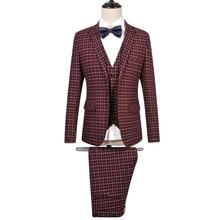 (Jackets+Pants+Vest ) Men Superior Plaid Suit Clothing Brand Formal Fashion Business Plus Size Wedding Party BLazer SL-E519