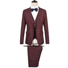 (Jackets+Pants+Vest ) Men Superior Plaid Suit Clothing Brand Formal Fashion Business Plus Size Wedding Party BLazer SL-E519