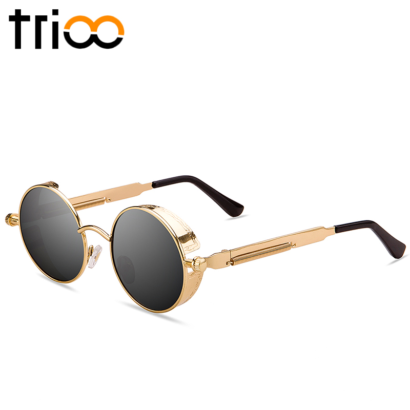 ac9f457684 TRIOO Polarized Sun Glasses For Men Driving Steampunk Style Mens Sunglasses  Retro Round Vintage Blue Mirror Lunette 2017 Quality-in Sunglasses from  Apparel ...