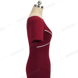 Image 5 - Nice Forever Elegant Vintage Patchwork Work vestidos Business Party Bodycon Office Sheath Women Dress B519