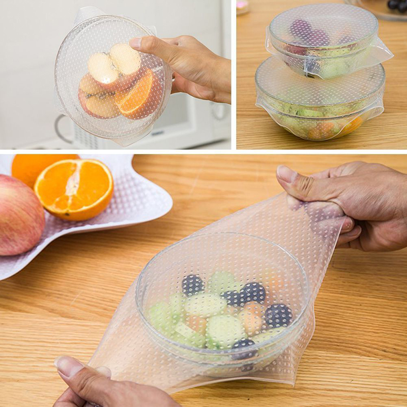 Kitchen Silicone Food Wraps Seal Cover 4Pcs Stretch