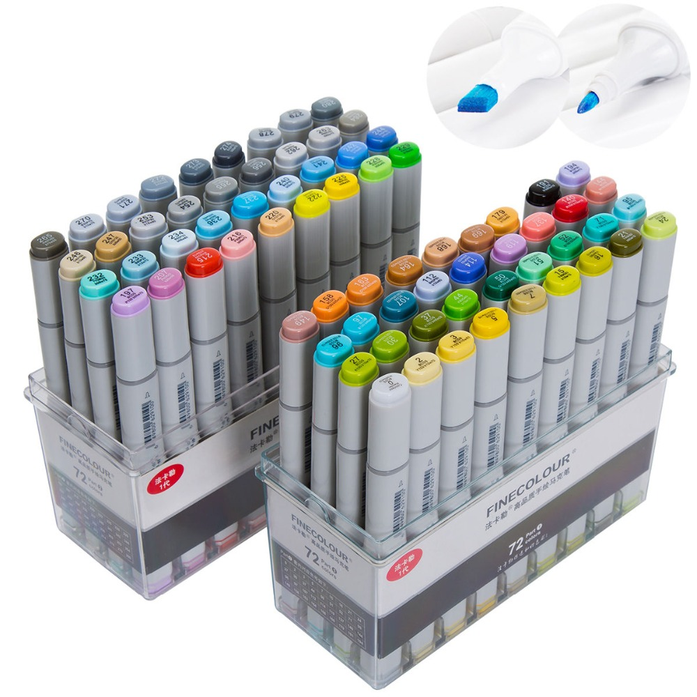 FINECOLOUR Genuine Artist Sketch Markers Set Manga Design School Student Drawing Sketch Markers Pen Art Painting Supplies sketch marker pen 218 colors dual head sketch markers set for school student drawing posters design art supplies