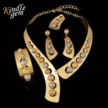 Dernières Haute Couture De Luxe Bijoux Définit Dubai Rose Argent Or Couleur Bijoux Ensembles De Mode Costume Bijoux 3 Couleur Perles