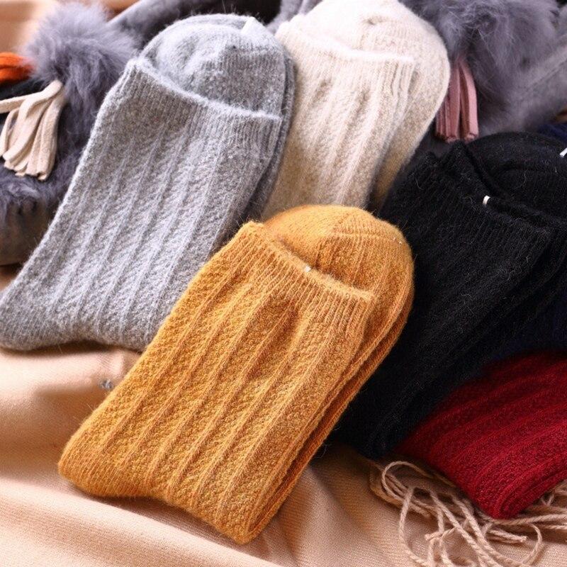 New Thick Soft Super Texture Merino Wool Rabbit Hair Women Socks High End Autumn Winter Warm Socks Retro Colors Basic Socks