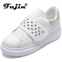 Fujin Women Shoes Dropshipping Spring 2019 Tide Small White Rivets Solid Color Leisure Vulcanize Fashion