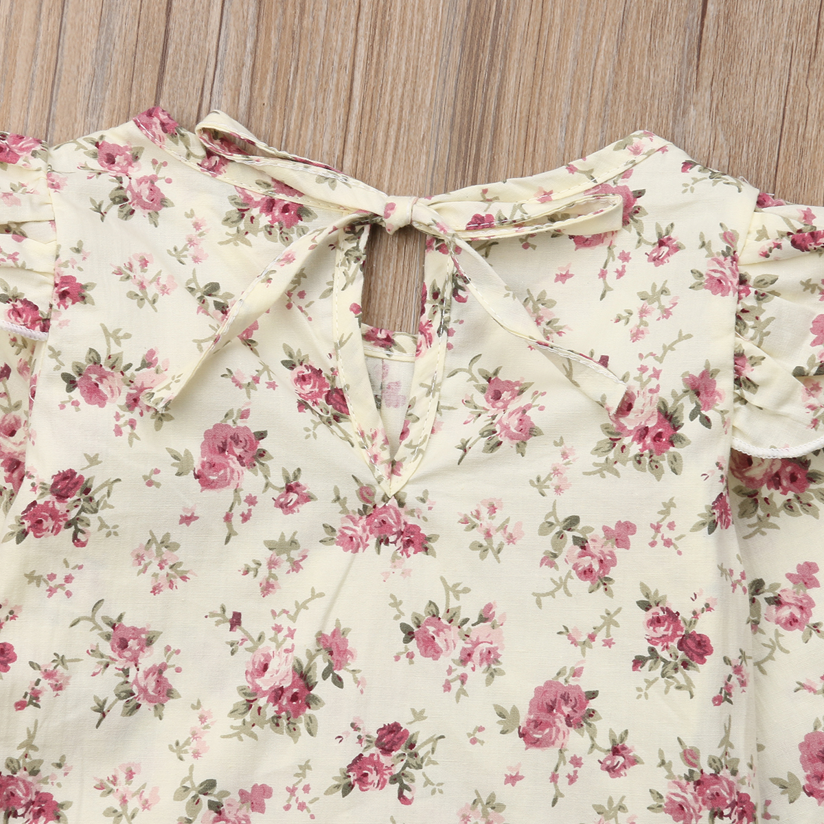 Cute Newborn Kids Baby Girl Floral Ruffle Tops Bib Strap Pants Outfits Clothes