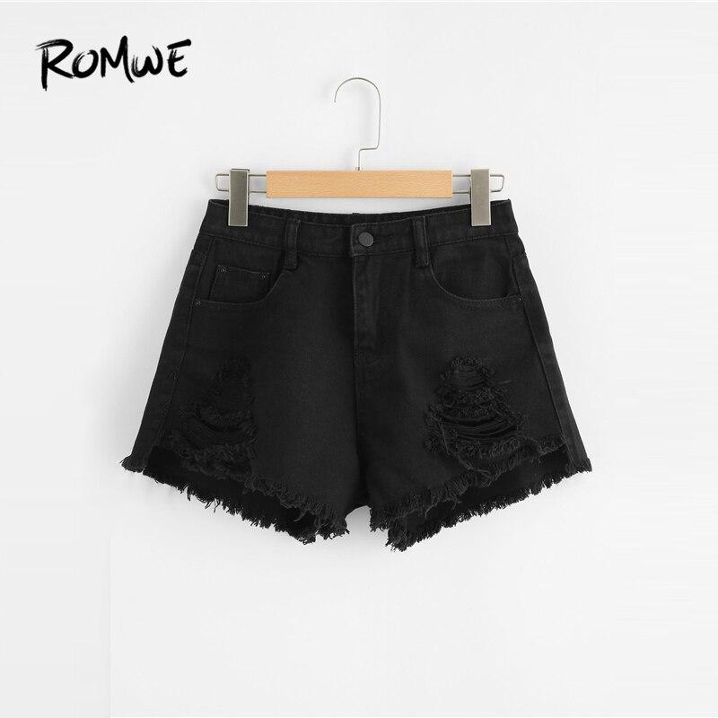 ROMWE Frayed Edge Ripped Denim   Shorts   Black Women Pockets Button Fly Fashion   Shorts   2019 Glamorous Mid Waist Summer   Shorts