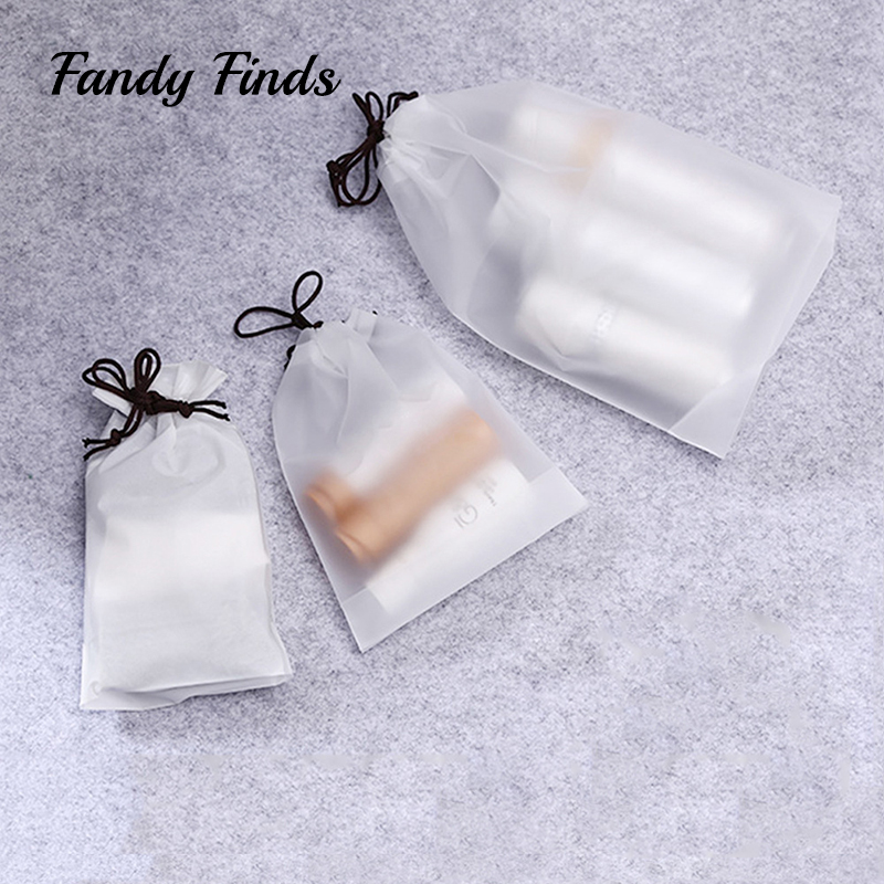 Three Sizes Dull Polish Transparent Travel Makeup Recycle Storage Bag Drawstring Thicken Dustproof Protable Sundries Buggy Bag