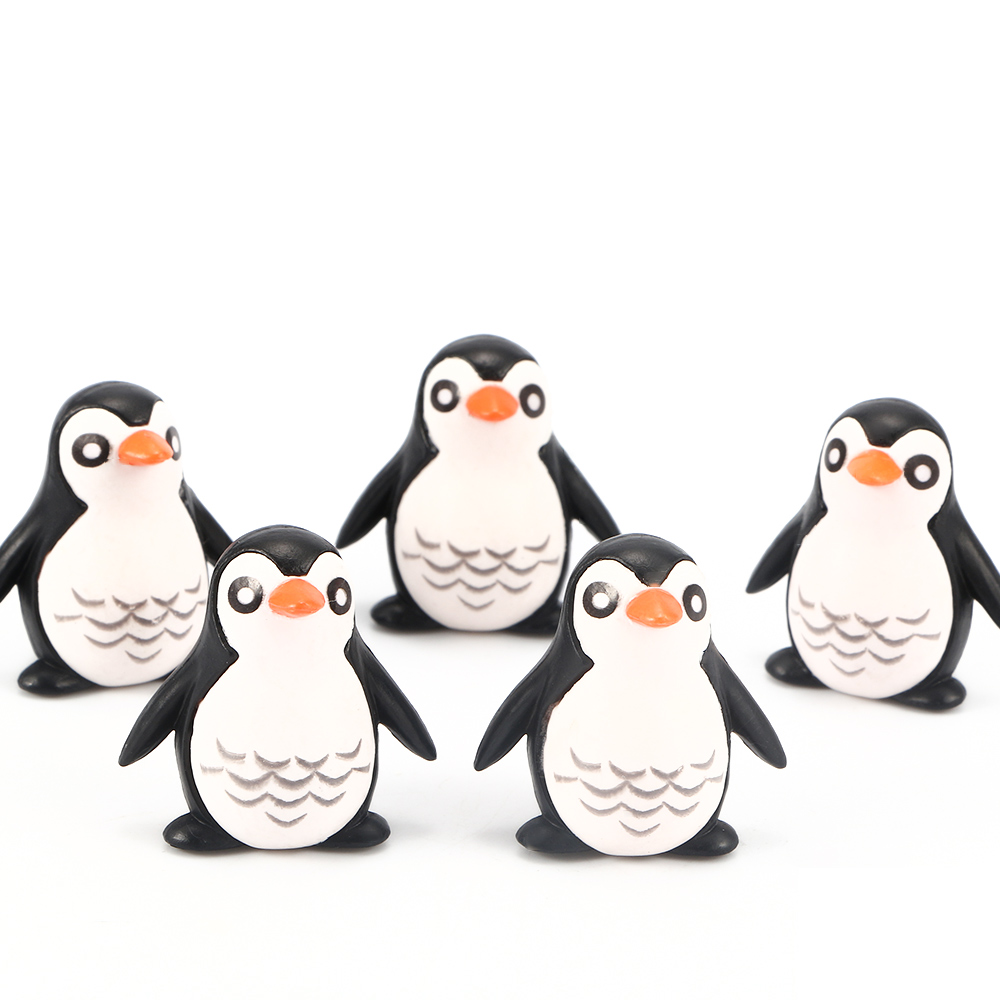 5pcs/lot Mini Resin Penguin Model Practical Jokes Toy Decoration Children Birthday Gifts Toy