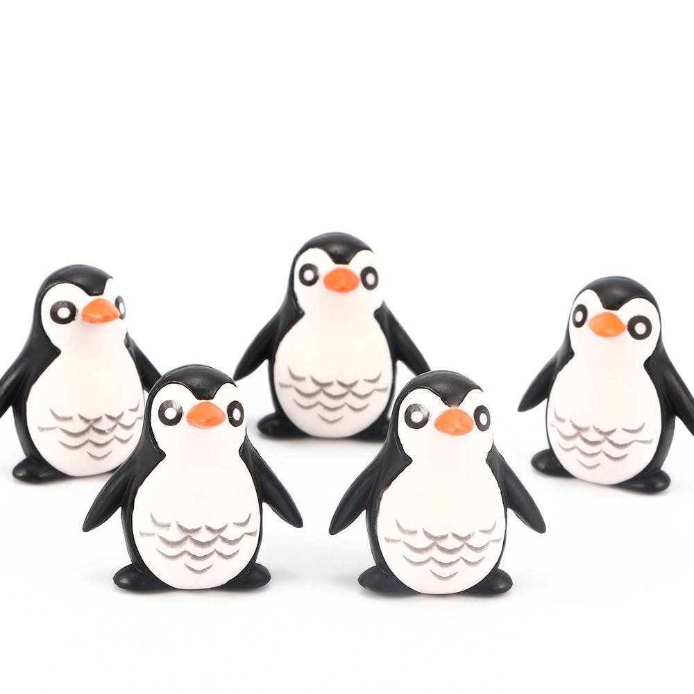 5pcs/lot Mini Resin Penguin Model Practical Jokes Toy Decoration Children Birthday Gifts Toy