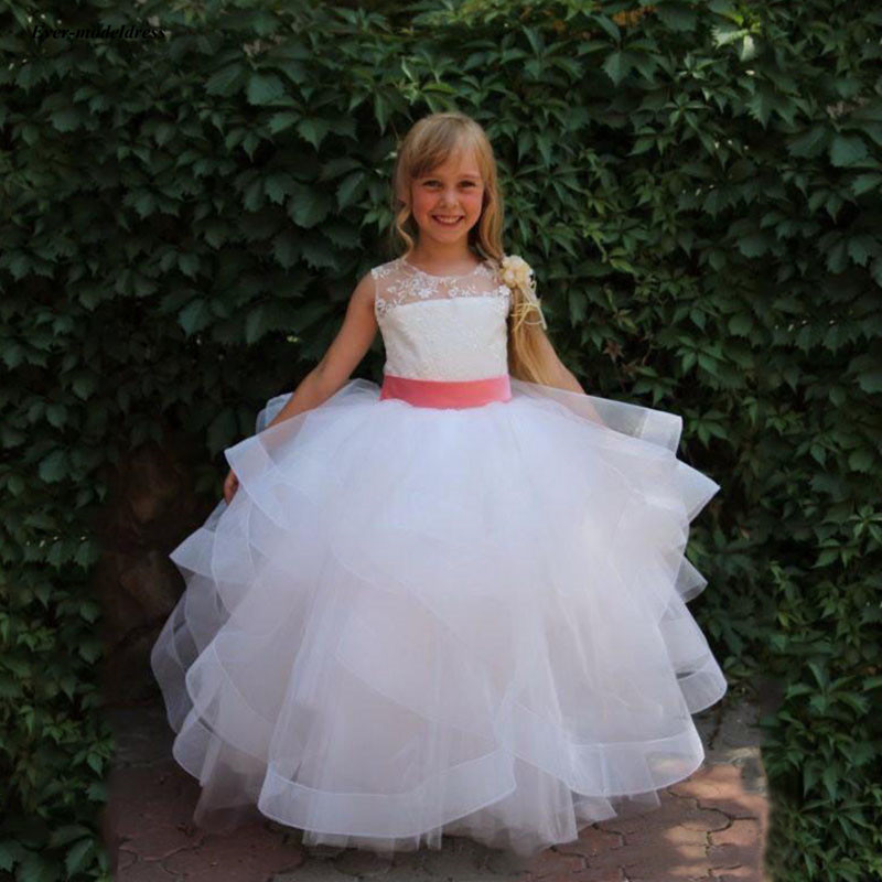 Pure White Ball Gowns First Communion   Dresses   Tiered Lace Tulle   Flower     Girls     Dresses   kommunionkleid 2019