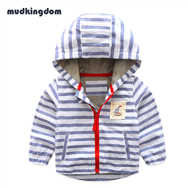 Mudkingdom Boys Striped Hoodies Kids Boys Clothes Boys Zipper Hooded Jackets Sweatshirts Coats Baby Outwear