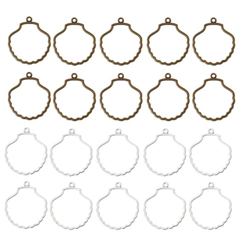 10Pcs DIY Shell Resin Frame Pendant Open Back Bezel For UV Resin Jewelry Making