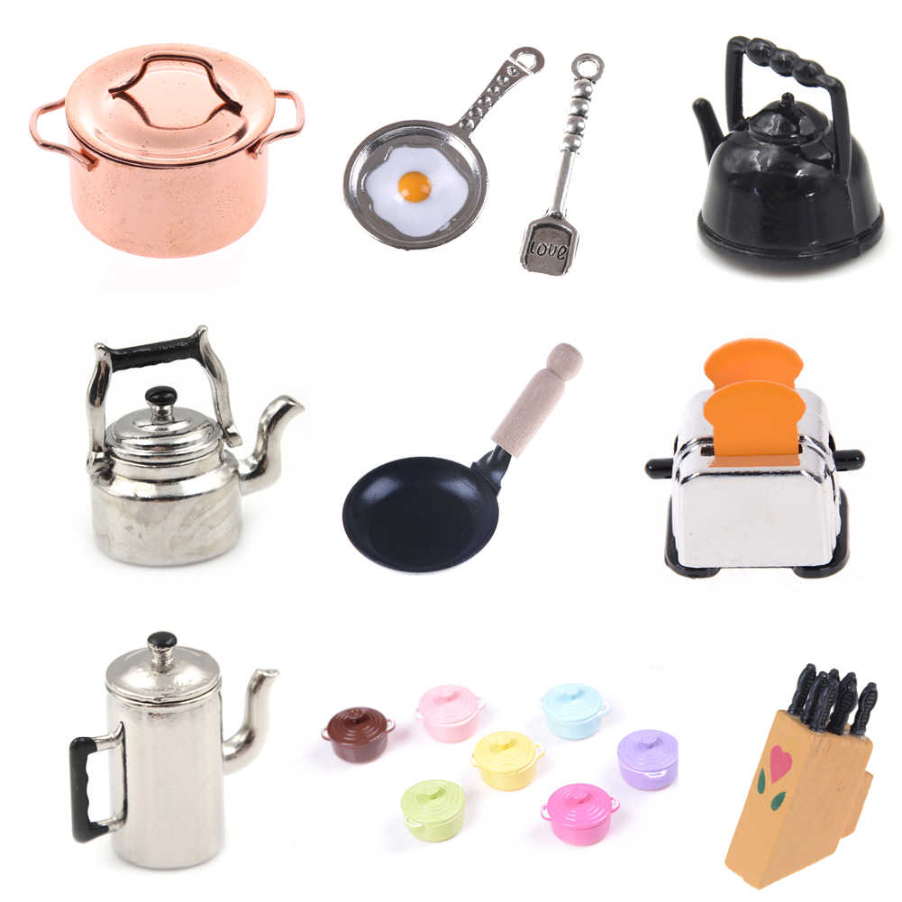 Mini tableware For 1:12 Dollhouse Miniature figure fork pot Kitchen set food toys accessories dolls Pretend Play Toys Xmas
