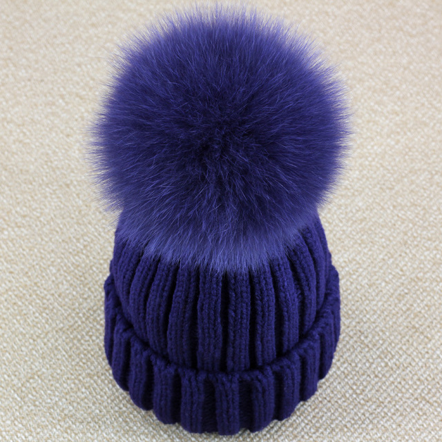 Plus Size Pure Color Fox Fur Pompoms Winter Hats for Women Thick Warm Outdoor Casual Skullies & Beanies Acrylic Stripe Caps Hat