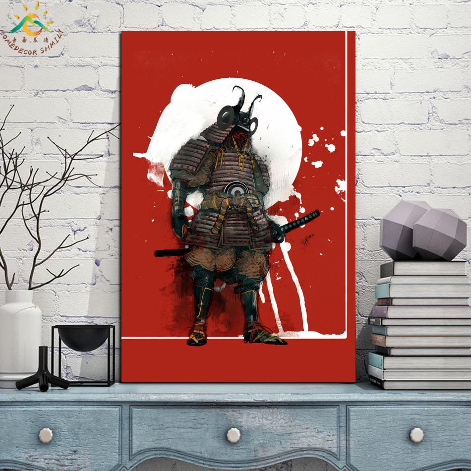 Japan Samural Single Framed Scroll Painting Modern Canvas Art Prints Poster Wall Painting Artwork Wall Art Pictures Home Decor in Painting Calligraphy from Home Garden