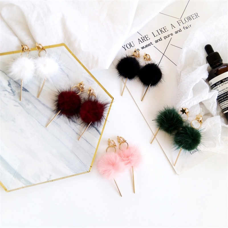 Korean Retro Long Section Of The Sweater Hair Ball Earrings Pendant Girls Students Popular Ear Studs Without Ear Clip