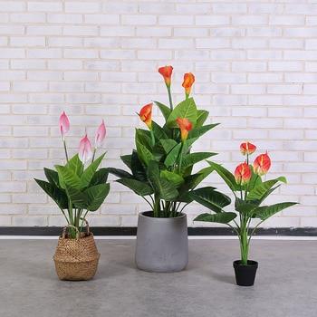 New 70cm calla Lotus bonsai artificial plants greenery plastic fake tree faux plants for home hotel decoration