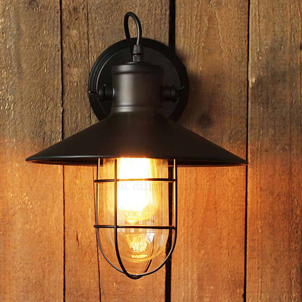 American loft retro iron wall lamp industrial loft sconce creative bedroom bedside mirror front glass wall lamp outdoor light