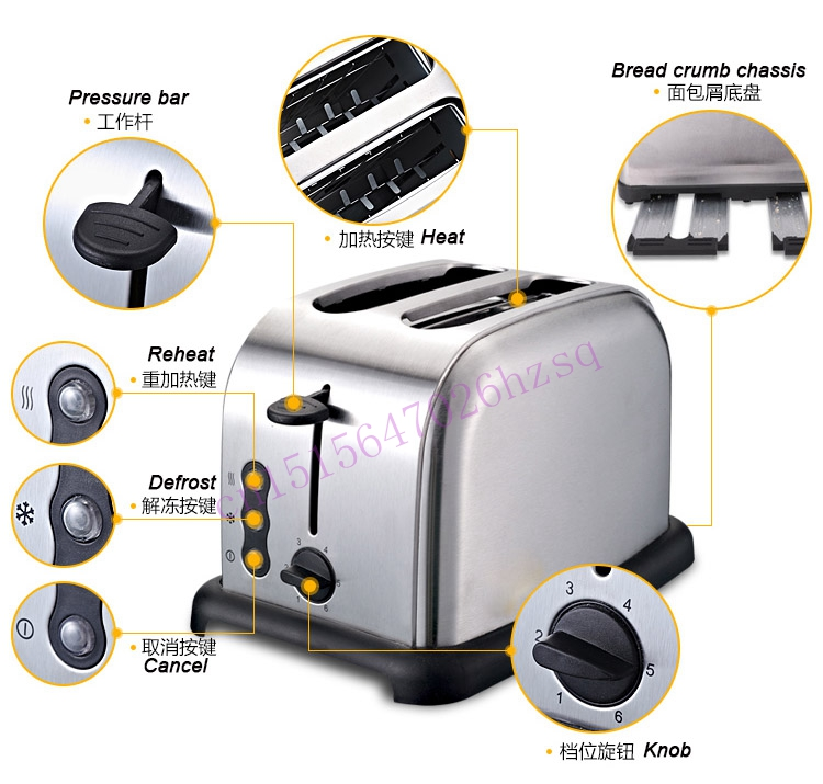 CUKYI Toaster 2 pieces Household automatic breakfast machine stainless steel toaster Bread baking 800W Heating Europe stainless steel household portable electric toaster breakfast machine automatic bread baking maker fried eggs boiler frying pan