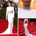 Met Gala Rihanna White High Collar Beaded Backless Long Sleeve Two Pieces Evening Dresses