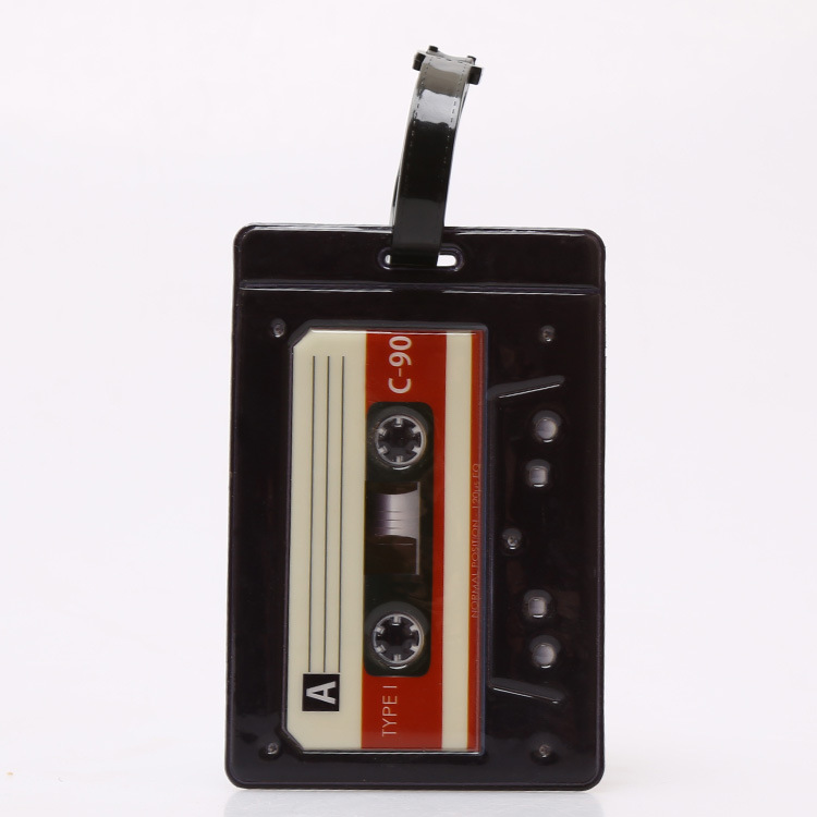 Radio Camera Pattern Luggage Tag11x7.5cm Petit Luggage Tag Trunk Cards Strip Suitcase Label Bags Tags Travel Accessories PVC