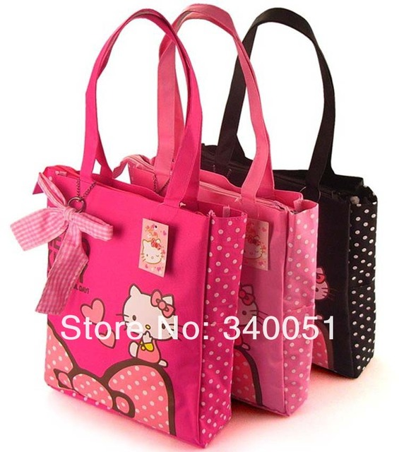China Wholesale  Hello Kitty  Fashion Shopping Bag  Woman Handbag   ShoulderbagThree  Color (1 piece) Free Shipping