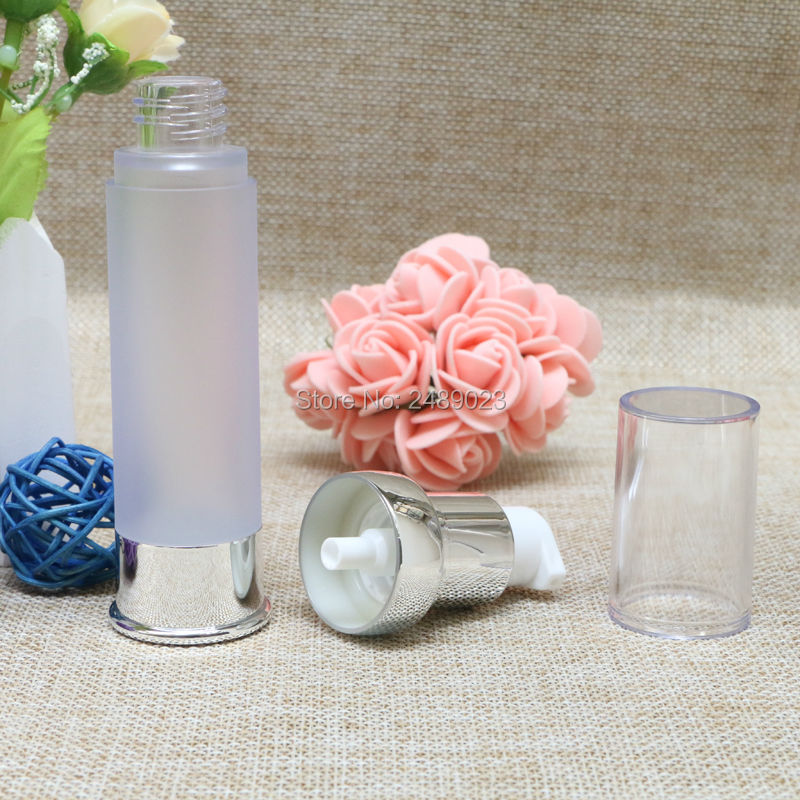 High Quality Min 15ml 20ml 30ml Silver Airless Bottles Cosmetic Container Plastic Empty Refillable Bottle 100pcs/Lot